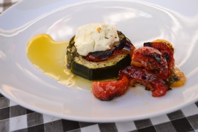 Tray baked Marrow with Goats cheese
