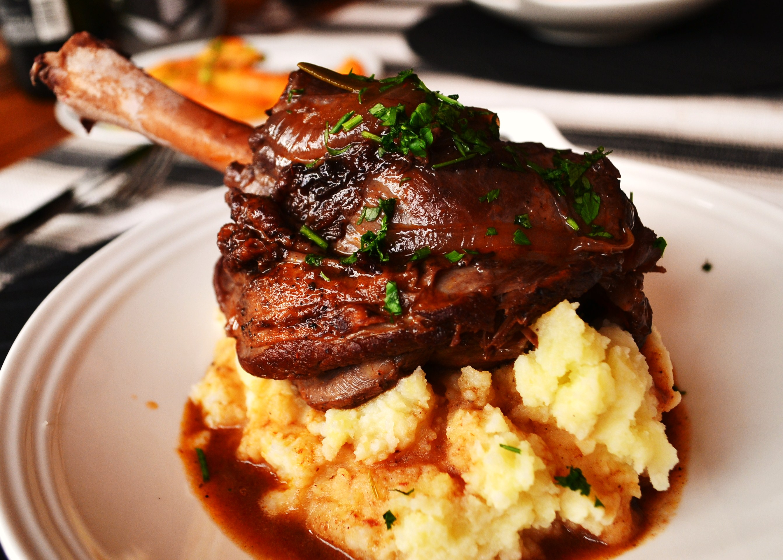 Lamb Shank With Cheddar Mash Recipe — Dishmaps