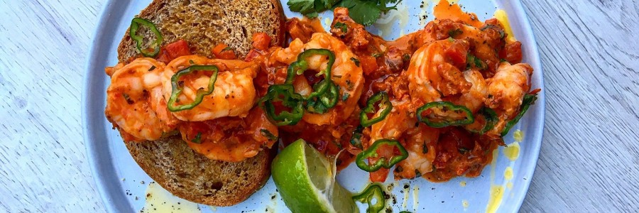 Spicy Gambas on Rye Toast